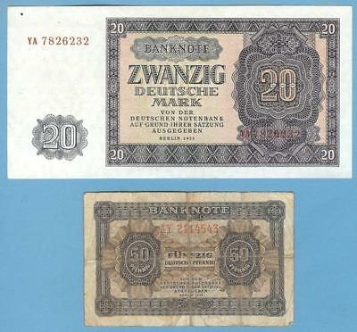 East Germany DDR Banknotes Currency--Two Notes, 50Pf 1948 & 20M 1955
