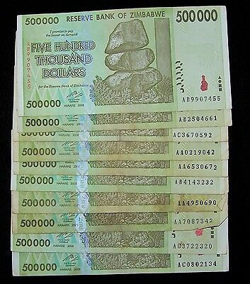 10 x Zimbabwe 500000 (500,000) dollar banknotes-circulated currency