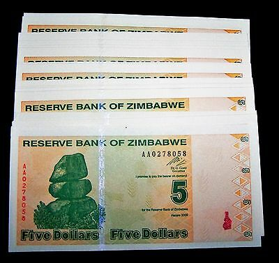 100 x Zimbabwe 5 Dollar(2009 series) Banknotes-paper money currency