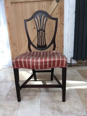 Antique Georgian Solid Mahogany Shield Back Dining Chair For Re Upholstery