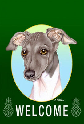 Garden Indoor/Outdoor Welcome Flag (Green) - Italian Greyhound 740651