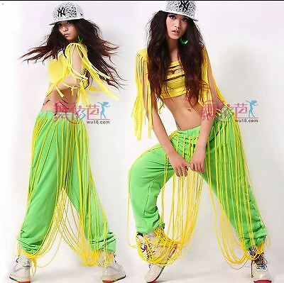 NWT Lime Green Yellow Cords Hiphop pants wu18  Small adult Street Dance