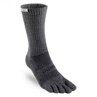 Injinji Trail Midweight Crew Xtralife Coolmax Hiking Toe Socks - Granite - Large