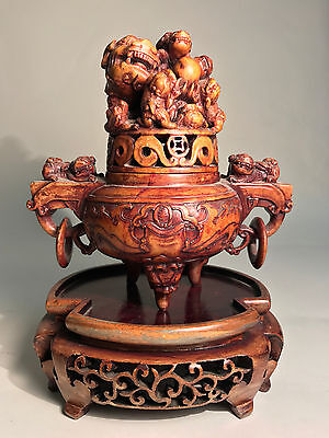 Antique Chinese Carved Stone Foo Dog & Dragon Censer w/ stand - Feng Shui