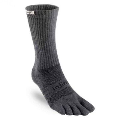 Injinji Trail Midweight Crew Xtralife Coolmax Hiking Toe Socks, Granite, Medium