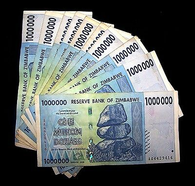 10 x Zimbabwe 1 Million Dollar banknotes-currency