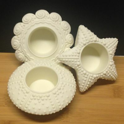 PartyLite SEA DRIFTERS Bisque Nautical SEASHELL TEALIGHT CANDLE HOLDERS Shells