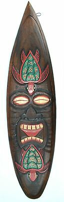 "39"" Hand Carved Island Wood Tiki Sea Turtle Mask Surfboard Sign Bar Tropical Art"