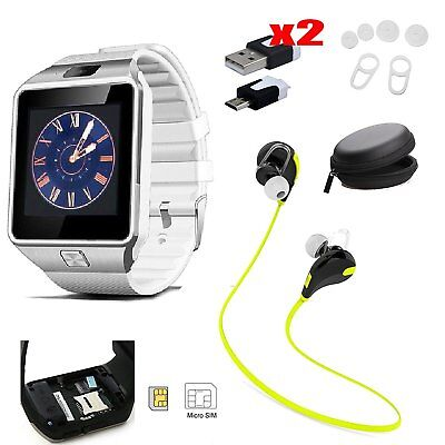3 in 1 Accessory Bluetooth Smart Watch Wireless Earphones For iPhone Samsung LG
