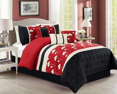 7pc Chenille Poppy Flower Floral Pleated Embroidery Comforter Set King, Red