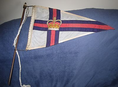 1944 Vintage Ships Yacht Marine PENNANT FLAG Navy Crown