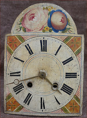 German Black Forest 8 Days Movement Hand Painted Wooden Dial Gong 19th C