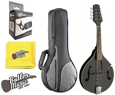 """Stagg Model M20 BLK """"A"""" Style Bluegrass Mandolin w/Padded Gig Bag & More"""