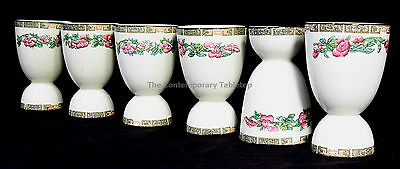 """Vintage MADDOCK England INDIAN TREE Set of 6 DOUBLE EGG CUPS 4-1/4"""""""