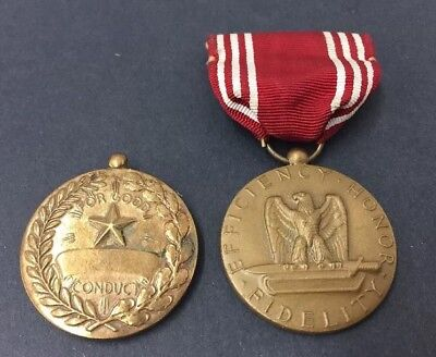 "2 VINTAGE~WWII U. S. ""FOR GOOD CONDUCT"" MEDALS WITH RIBBON Original"