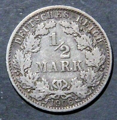1906-A GERMANY 1/2 Mark SILVER Empire KM17  GRADE: AU+/BU A1722