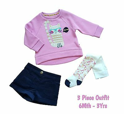 Baby Girls Set Outfit Clothes Jumper Top Corduroy Shorts Tights 3 Piece Ex Store