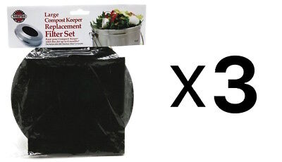 Norpro REPLACEMENT FILTER Standard Compost Pail Charcoal 2 Piece Set (3-Pack)