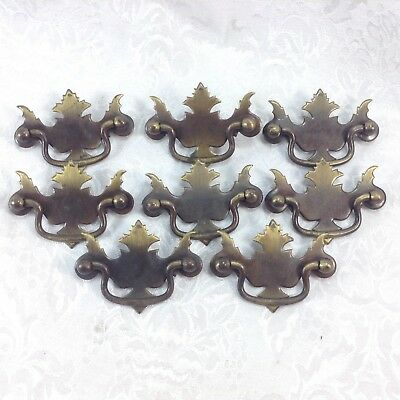 "Set of 8 Stamped Brass Drawer Pulls Drop Bail Handles 2.5"" Holes Cabinet"