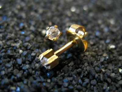 3mm CUBIC ZIRCONIA Round Cut PIERCING Studs Earrings GOLD -STERILIZED- USA Made