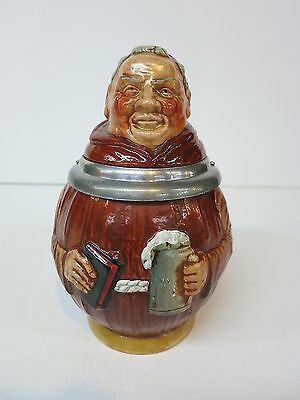 Figural Character Pottery Beer Stein Tankard Monk Monie Mohax Music Box Lid