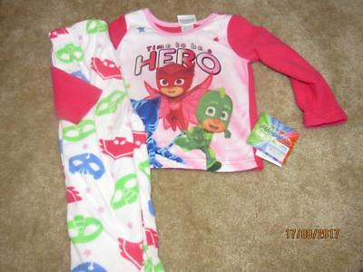 NWT Girls Flannel PJ Masks Pajamas SET PInk Size 2T