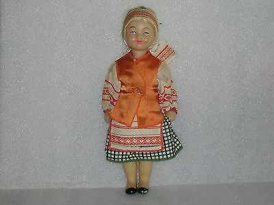 Vintage Soviet Doll In National/ Traditional Costume, Russia/ussr