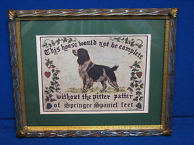 Springer Spaniel Dog Art Print Framed Signed House #ed 60 / 350 Matted Brown Old