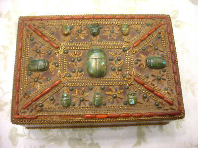 Antique Vintage TIBETAN Wood Box w Faux Coral and Turquoise Scarabs HINGED LID