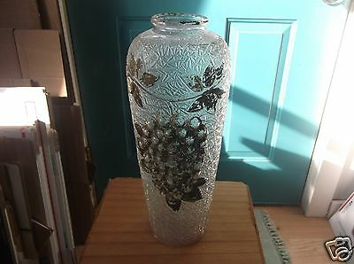 Vintage 13 1/2-Inch High Goofus Glass Vase with Grape Design - Has Color Loss