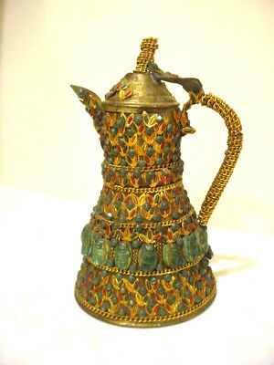 Antique Vintage Brass TIBETAN Pitcher Ewer Snuff Bottle w FAUX Coral & Turquoise