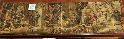 Gorgeous Victorian Antique Tapestry Dancing Gathering Made in Belgium 58 X 19