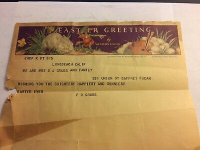 Vintage Western Union Telegram Easter Greetings Norman Rockwell Print.