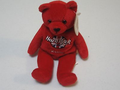 Hard Rock cafe Madrid  beanie bear plush approx 8 inches