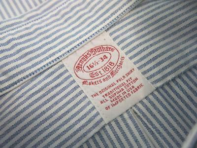 Brooks Brothers Blue Striped Supima Cotton Oxford Button Down Shirt 16 1/2-34
