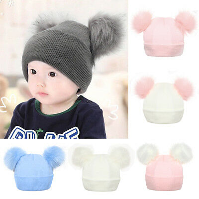 Infant Baby Winter Knitted Cap with Double Fur Pom Pom Cute Beanie Hat Outdoor D