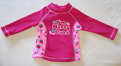 Tiny Little Wonders Girls Pink I'm Berry Cute Long Sleeve Rash Vest Size 00 New