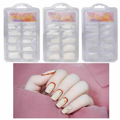 100Pcs Nail Art French Tips Acrylic False Fingernail Full/Half Box Natural/Clear