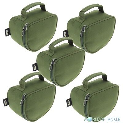 5 x New Deluxe Padded Fishing Reel Cases / Bags XL for Large Carp Pike Reels