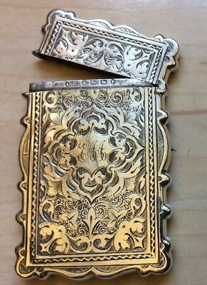 Antique Solid Sterling Silver Visiting Card Case Unite Birm. 1881