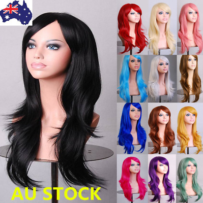 "27"" Women Long Wavy Curly Full Wigs Fancy Dress Party Cosplay Halloween Hair+Cap"
