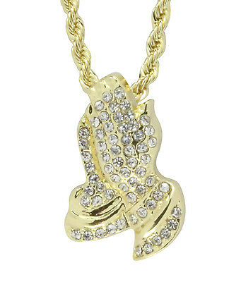"Praying Hands 14k Gold Plated Iced Out 24"" 3mm Rope Chain 1"" Pendant Hip Hop"