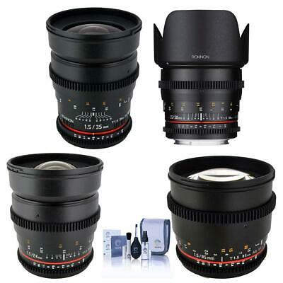 Rokinon T1.5 Cine Kit for Canon EF - Bundle 24mm T1.5,35mm T1.5,50mm T1.5mm 85mm