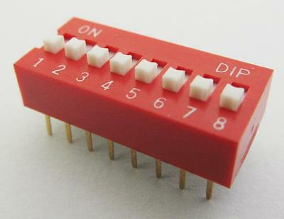 8 positions DIP Switch Red NEW DP Phosphor bronze Gold plated PBT 24v 25mA 1pcs