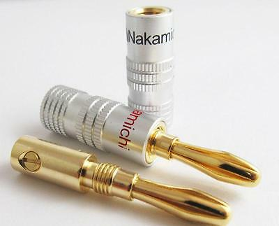 10x High-quality Nakamichi Gold Plated Copper Speaker Banana Plug Male Connector