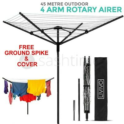 4 Arm 45M Rotary Outdoor Washing Line Airer Clothes Dryer + Free Cover & Spike