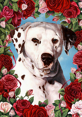 Large Indoor/Outdoor Roses Flag - Liver & White Dalmatian 19328