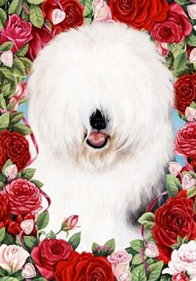 Large Indoor/Outdoor Roses Flag - Old English Sheepdog 19129