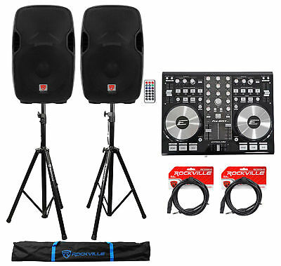 """DJ System Package w/ (2) 15"""" Active Speakers+Controller+Stands+Cables+Carry Bag"""