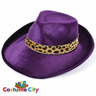 1980s Fancy Dress Party Disco Pimp Purple Velvet Fedora Hat Costume Accessory